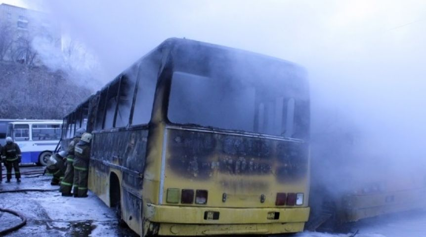 ВОмске навсе 100% сгорел автобус «Икарус»