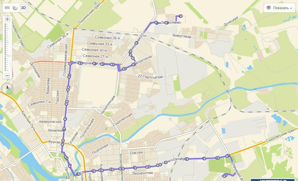 Вероятная схема маршрута № 72